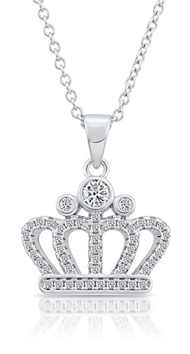 Sterling Silver CZ Royal Crown Pendant Necklace (18)