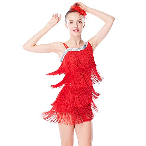 MiDee Dance Costume Fringes Ice Skating Dress Sequins Leotard with 4-Tires Tassels High-Low Dress for Girls (SA, Ruby)