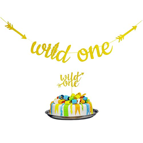 4 Gold Glittery Wild One Banner and 6.8 Cake Topper,Gold Glitter Garland Baby Shower Banner & Cupcake Topper for Boy or Girl Baby First Birthday Party Decoration Bday 1st Party