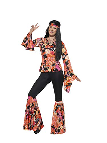Smiffys Women's 1960's Willow The Hippie Costume, Top, pants, Headscarf and Medallion, 60's Groovy Baby, Serious Fun, Size 14-16, -