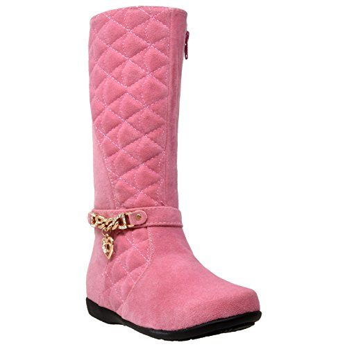 Generation Y Kids Boots Knee High Girls Quilted Suede Gold Train Trim Heart Charm Riding Shoes Pink SZ 3 Youth - Kid Suede High Heels