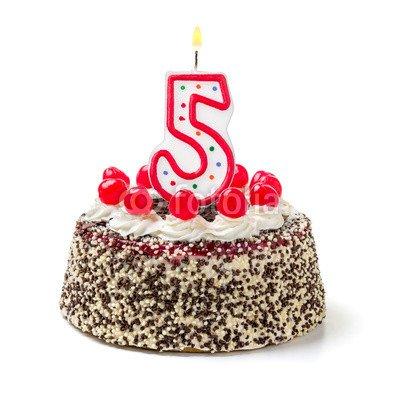 Superb Burning Birthday Cake Candle Number 5 71433300 Poster 30 X 30 Personalised Birthday Cards Akebfashionlily Jamesorg