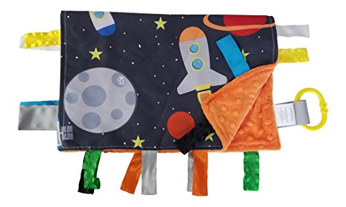 - Baby Sensory, Security & Teething Closed Ribbon Tag Lovey Blanket with Minky Dot Fabric: 14X18 (Outer Space)