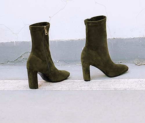The Boots Square Socks 36 Side The A Female Barrel With Boots Zipper Rough Heeled Green Boots Women Winter 8 Short Of High Boots KHSKX Of Martin Version Korean 5Cm zf0qO