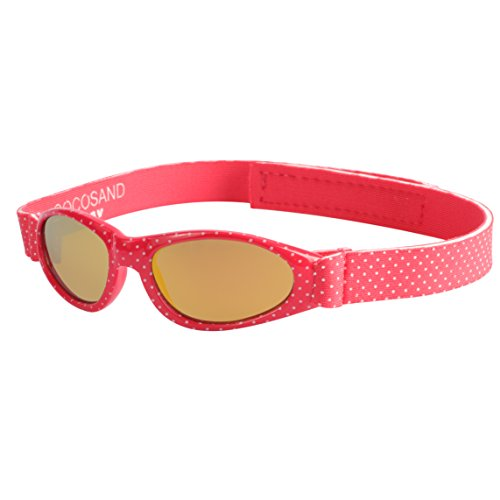Baby Navigator Sunglasses with UV400 Lens and Adjustable Neoprene Straps & Exciting colors Age: 0-12months. (Strawberry Red with Red Revo) by COCOSAND