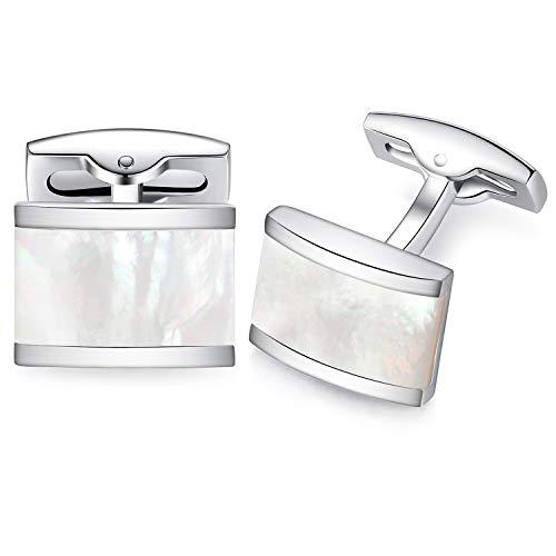 - HONEY BEAR Rectangle Cufflinks for Mens Steel Business Wedding Gift White Shell