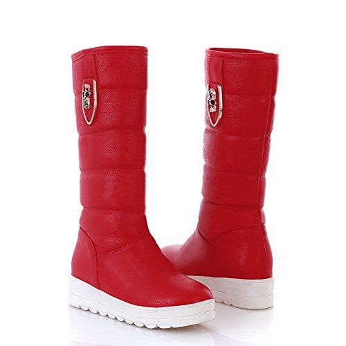 AmoonyFashion Womens Kitten Heels PU Soft Metalornament Material PU Solid Boots with Metalornament Soft and Platform, Red, 5.5 B(... B00S4O2WKU Shoes 45554c