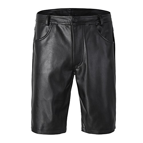 YiZYiF Men's Black Leather Cargo Shorts Sports Underwear Leg Bermuda Zipper Pants Black XX-Large - Leather Short Dress Shorts