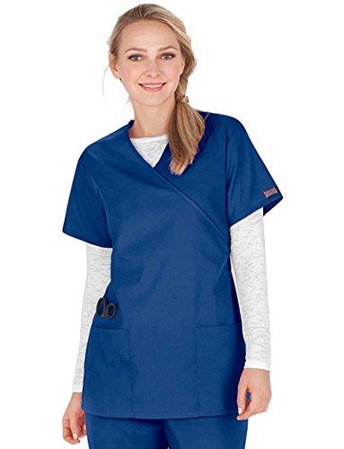 Cherokee Workwear Originals Women's Mock Wrap Tunic Solid Scrub Top X-Large Galaxy Blue