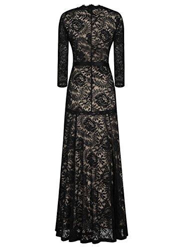 Miusol Womens Floral Lace 2/3 Sleeves Long Bridesmaid Maxi Dress