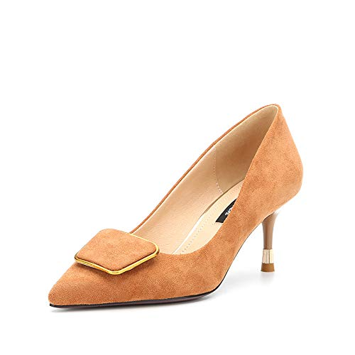 Yukun zapatos de tacón alto Zapatos De Tacón Alto De Primavera Y Otoño De Las Mujeres De Tacón Alto con Una Punta Puntiaguda con Una Boca Poco Profunda Caramel