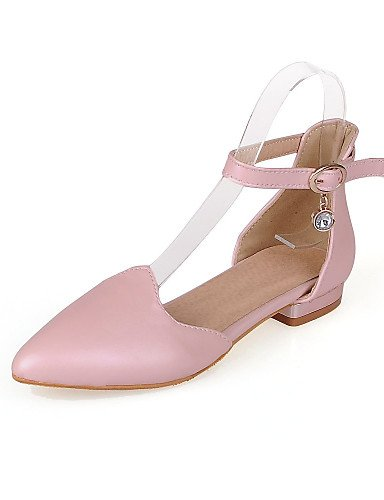 ZQ Zapatos de mujer - Tac¨®n Bajo - Puntiagudos - Planos - Casual - Semicuero - Negro / Rosa / Blanco , pink-us8 / eu39 / uk6 / cn39 , pink-us8 / eu39 / uk6 / cn39 black-us6.5-7 / eu37 / uk4.5-5 / cn37
