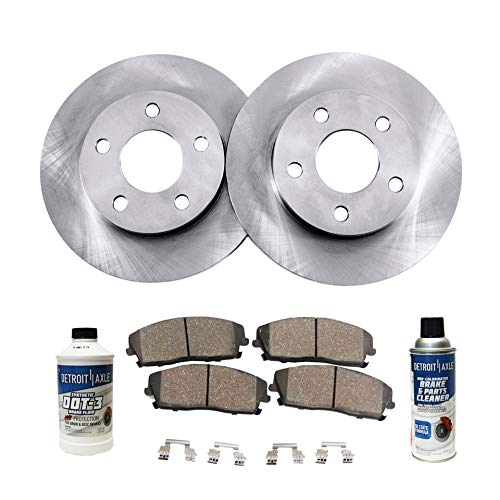Detroit Axle - Pair (2) 321mm Front Disc Brake Rotors w/Ceramic Pad Kit for 10-15 Lacrosse - [11-16 Regal] - 10-16 Equinox - 14-16 Impala - [13-16 Malibu] - 10-16 Terrain