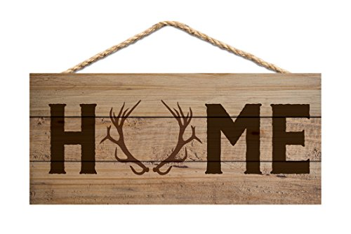 Home Deer Antlers Natural 10 x 4.5 Wood Wall Hanging Plaque Sign