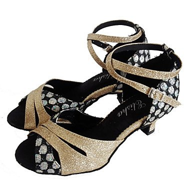 XIAMUO Anpassbare Damen Tanzschuhe Latein/Ballsaal funkelnden Glitter angepasste Ferse Gold, Rosa, US 8 / EU 39/UK6/CN 39