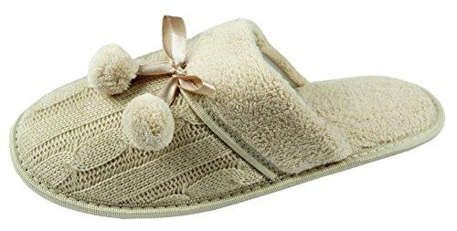 Damen-Hausschuhe, Super bequem und kuschelig, Zopfmuster Pom Pom perfekte Geschenk für alle Frauen Braun - Stone
