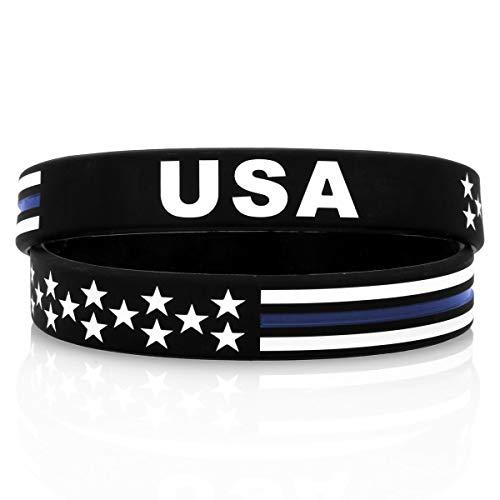 - Sainstone Power of Faith USA Thin Blue Line Silicone Bracelets Wristbands United States American Flag Americanism Partriotic Spirit Sports (2 Pcs)