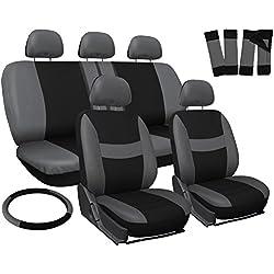 OxGord Car Seat Cover - Gray/ Black fits Car, Truck, Van, SUV - Full Set