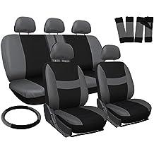 OxGord Car Seat Cover - Gray/Black fits Car, Truck, Van, SUV - Full Set