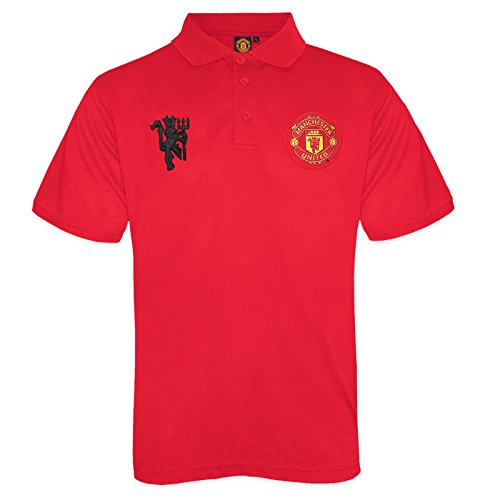 Manchester United FC Official Gift Boys Crest Polo Shirt Red 8-9 Years MB -