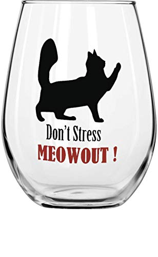Circle ware Cat Stemless Wine Glasses with Decal, Set of 2, Home & Kitchen Funny Party Entertainment Dining Glassware for Water, Beer, Juice, Ice Tea, Whiskey bar Beverage Cup, 18.9 oz, Clear