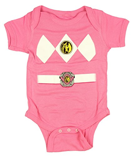 Power Rangers Pink Baby Ranger Costume Romper Onesie (0-6 Months) (Pink Power Ranger Toddler Costume)