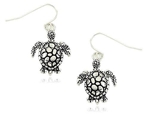 Small Silver Tone Sea Turtle Charm Dangle Earrings Fashion (Sea Creature Halloween Costume Ideas)