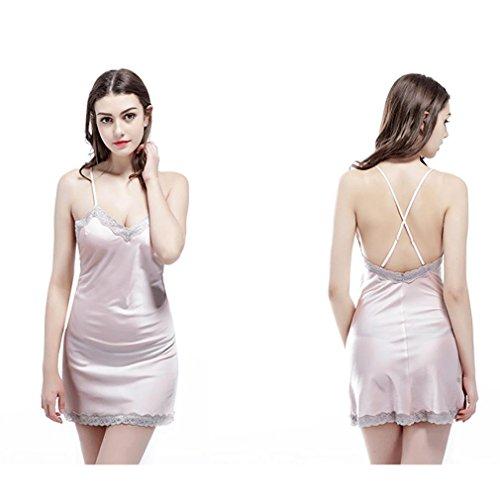 HXQ Mujeres satén camisas lencería spaghetti correa babydoll ropa de dormir Pink