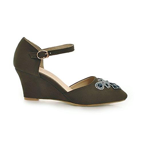 ... YE Damen Keilabsatz Ankle Strap Pumps Spitze High Heels mit Riemchen  und Strass Elegant Schuhe Grün ...