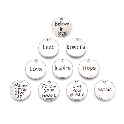 3/4 Inch Circle Charm Necklace - Kissitty 60Pcs 10 Styles Antique Silver Flat Round Inspirational Word Tag Charms Collection 3/4