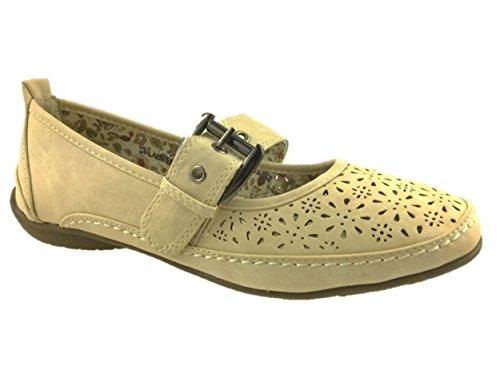 Annabelle Ladies Mary Jane Comfort Walking Summer Shoes Adjustable Strap Size 3-8 New Beige