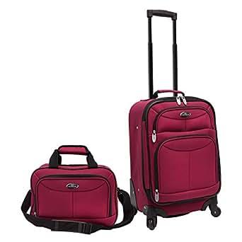 Traverler's Choice U.S. Traveler Clovis 2-Piece Carry-On Luggage Set, Maroon, One Size