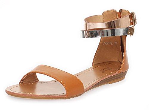 Damen Sandalen mit Glanz Riemen Gr. 36 37 38 39 40 41 Camel