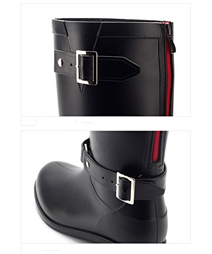 Minetom Mujer Moda Impermeable Botas De Moto Hasta La Rodilla Zapatos Cargadores De Martin Cremallera Cerrada Botines De Lluvia Negro Rojo