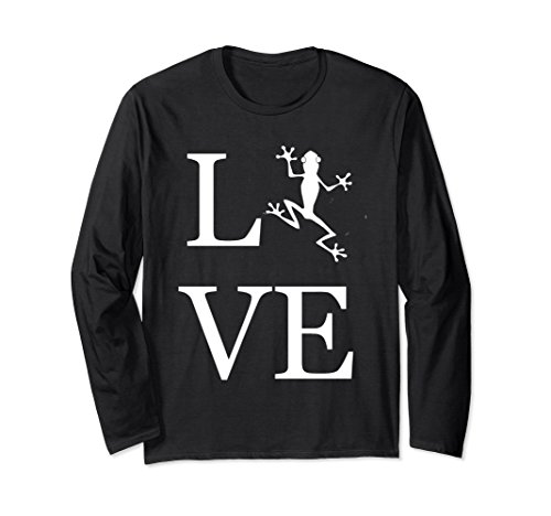 Unisex Love Frog Long Sleeve Shirt, I Love Frogs Graphic Tee Medium Black -