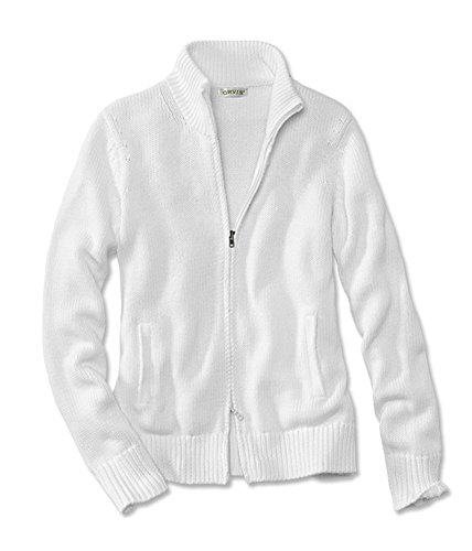 Women's Zip-front Cotton-knit Cardigan, White, Large (Orvis Cotton Cardigan)