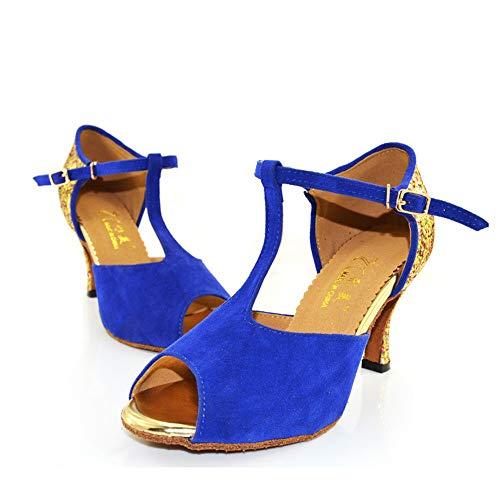 5cm 8 Blue da Tacco Morbido Latino Scarpe QXH Fondo Banchetto Femminile Alto Ballo Suede BgHOO7P