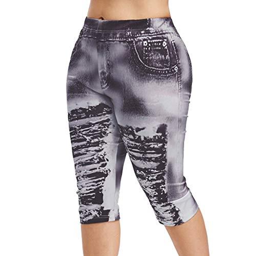 UOFOCO Fashion High Waist Yoga Pants Women Plus Size 3D Ripped Jean Print Legging Black