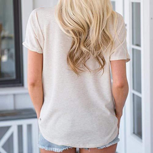 Baggy Top Donna Corta T Colore Shirt Puro V Manica Neck Camicetta Shirt Eleganti Plus Blusa Manica Ragazza Prodotto Beige Casual Bluse Pipistrello Moda Estivi Basic aXzrgXw