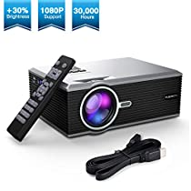 Projector, FLOUREON Video Projector LCD LED Portable Mini Projector Multimedia Home Theater Support 1080P HDMI/VGA/USB/SD Card/AV Input Video Game Outdoor Movie Cinema-Silver (Black)