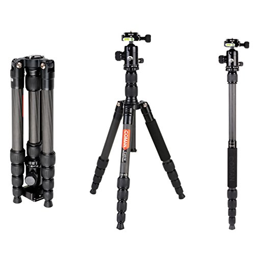 3 Stage Carbon Fiber (COMAN C2016 Carbon Fiber Camera Tripod Lightweight 56.7 inches Compact for Travel with 360 Degree Ball Head for Canon Nikon Sony DSLR)