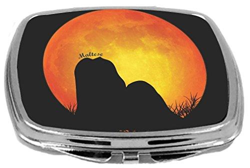 - Rikki Knight Maltese Dog Silhouette By Moon Design Compact Mirror