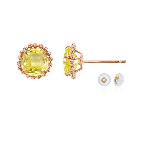 14K Rose Gold 5mm Round Created Yellow Sapphire with Bead Frame Stud Earring with Silicone Back