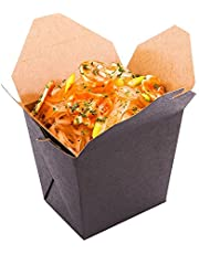 """16 oz Black Paper Square Noodle Take Out Container - 3 1/2"""" x 3"""" x 3 1/4"""" - 50 Count Box"""