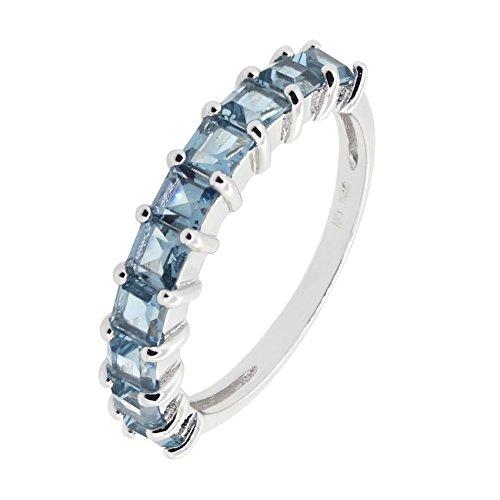 (Sterling Silver Princess Cut Genuine Gemstone Aquamarine Blue Topaz Garnet Peridot Eternity Band Ring (8, Blue-Topaz))