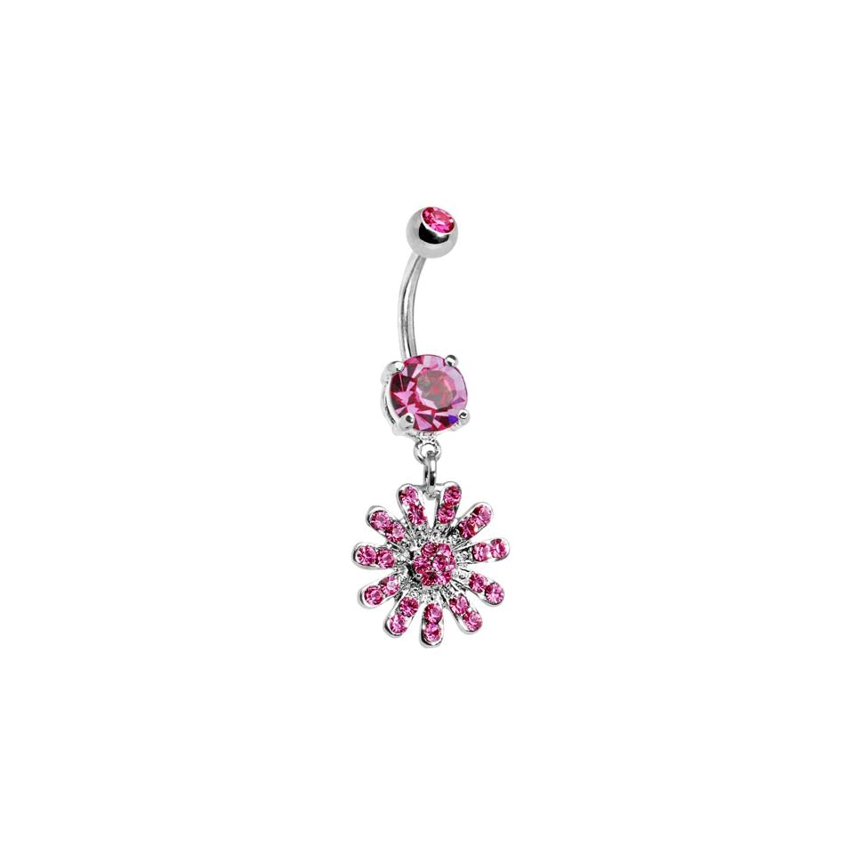 Pink Gem Gerber Daisy Belly Ring