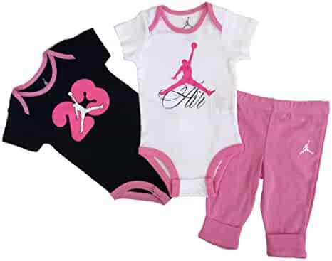 new styles 323ce 0a12f Nike Jordan New Born Baby Girl Bodysuit and Pants 3 Pcs Layette Set