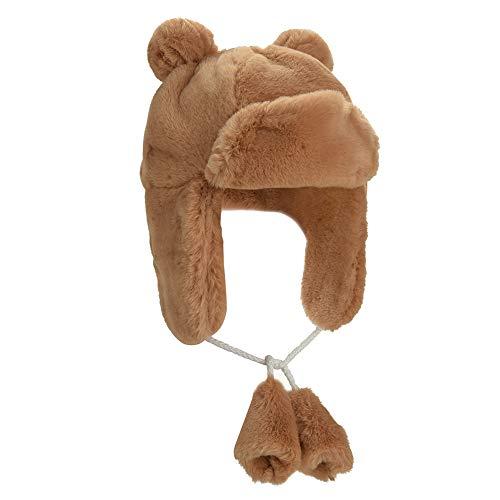 (Boys Girls Winter Super Soft Warm Faux Rabbit Fur Ushanka Trapper Cap Aviator Cap Bomber Hat (Brown))