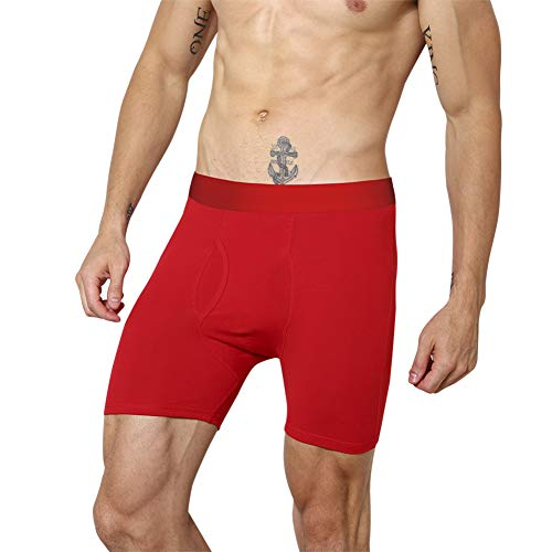 Counting Stars Mens Boxer Briefs Red Cotton Mens Underwear Boxer Briefs for Men Pack of 1 with Pouch Fly M