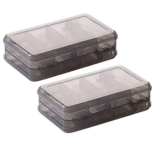 2Pcs Grey Double Layer Plastic Jewelry Box Organizer Storage Container for Earrings, Necklaces, Rings, Bead, Fishing Tackle, Jewelry, Pins, Hair Clips, Screws, Small Items Craft Box Case (10 Grid) (Bead Pin Craft)